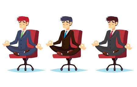Illustration of a calm, young cartoon businessman sitting cross-legged, smiling and meditating Vector cartoon character office worker
