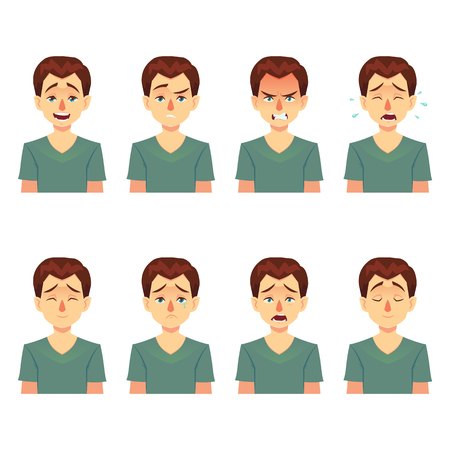 Avatars emotions. Set a man with a variety of emotions. Male face with different expressions. Man in flat design. Cartoon character. Vector illustration