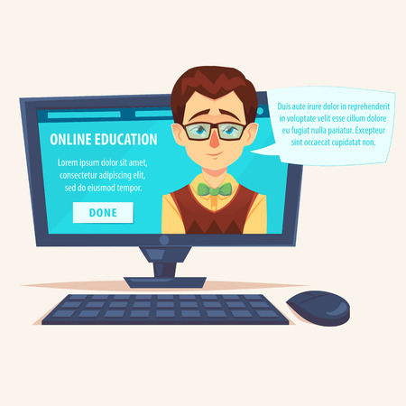 Flat cartoon cute funny teacher student geek on laptop screen with chat bubble vector illustration. Online, remote and distant education courses concept Ilustração