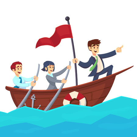 Businessman with leader red victory flag lead business team sailing on boat in the ocean