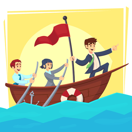 Businessman with leader red victory flag lead business team sailing on boat in the ocean Banque d'images - 126045498