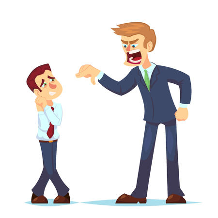Boss man character screams on worker. Vector flat cartoon illustration Angry businessman shouting at employee Banque d'images - 126045499