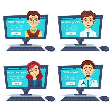 Set of portraits of happy smiling woman mancustomer support, teacher, docotor phone operator look out laptop. Modern new technology. Vector flat cartoon illustration. Online