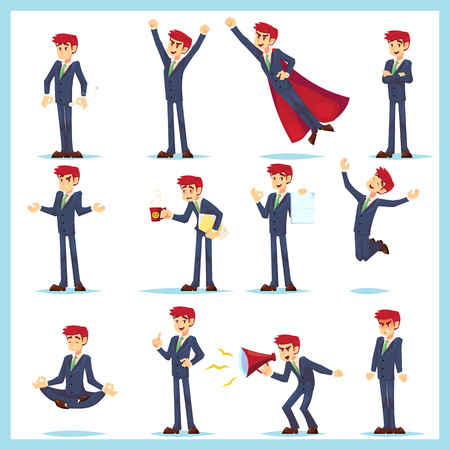 Office worker Business man characters. Adult in casual clothes. Emotions and expressions, pose set. Vector cartoon character 免版税图像