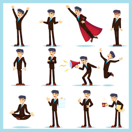 Office worker Business man characters. Adult in casual clothes. Emotions and expressions, pose set. Vector cartoon character Banque d'images - 126422803