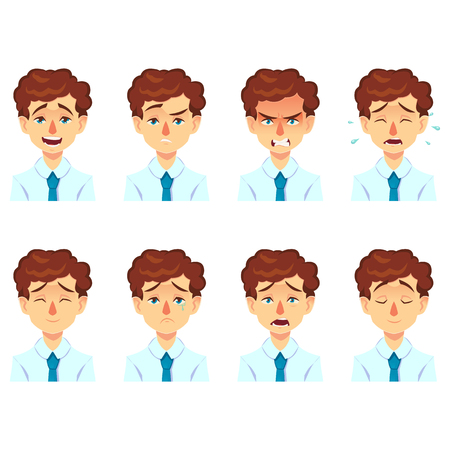 Set of male facial emotions avatar. businessman man with mustache emoji funny cute character with different expressions. Vector illustration in cartoon style.