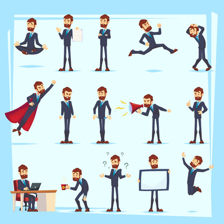 Office worker bearded Business man characters. Adult in casual clothes. Emotions and expressions, pose set. Vector cartoon character Banco de Imagens - 126422805