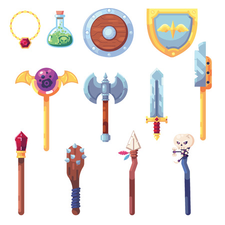 Weapon RPG game set equipment loot booty bow sword wand staff poison things artifact inventory vector Banque d'images - 126422807