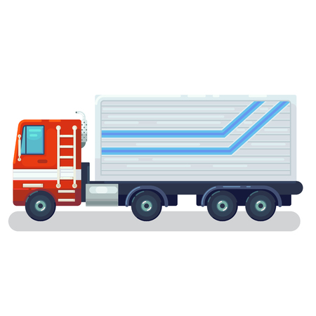 Cool semi-trailer sleeper and flat nose trucks towing engine transport web icons or design elements, side view, isolated Road freight transportation illustration