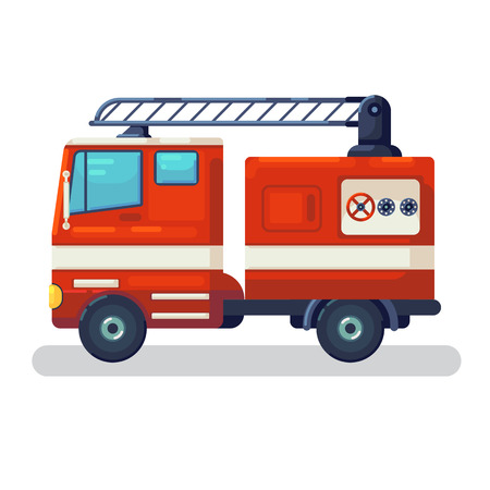 Modern city transport. Fire fighting car, side view. Modern vehicle of movement. Assistance, firefighting, service and rescue vehicle. illustration isolated. Flat cartoon Vector Illustration Graphic Design