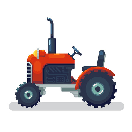 Flat red tractor in a flat style isolated. Agricultural transport for farm in flat style. Heavy agricultural machinery for field work. Tractor icon. Vector illustration. Banco de Imagens