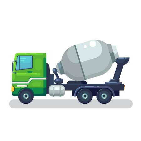 Concrete mixing truck vector. Flat design. Industrial transport. Construction machine. Green lorry with mixer pour out cement. For construction theme illustrating, building companies ad. On white