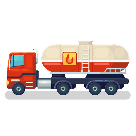 truck with tank and ladder. Heavy industrial vehicle with large reservoir for transporting liquid, gas, oil. Modern flat cartoons style vector illustration icons. Isolated on white.