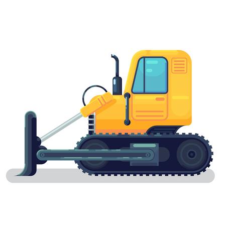 isolated bulldozer icon. flat cartoon style vector illustration.