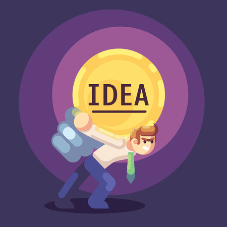 Young businessman with business idea light bulb on back. Heavy work, creative process. Flat vector illustration. Banque d'images - 123813625