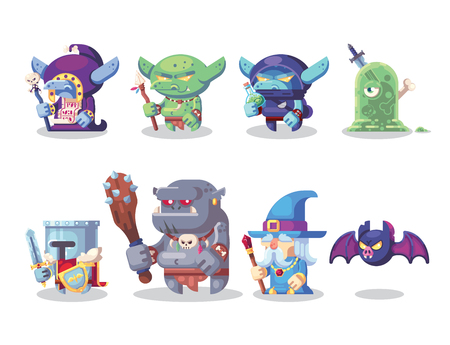Fantasy RPG Game Character monster and hero Icons Set Illustration. Banque d'images - 123813627