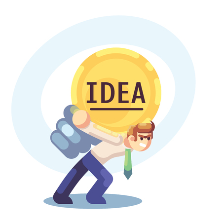 Young businessman with business idea light bulb on back. Heavy work, creative process. Flat vector illustration.