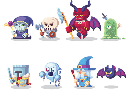Fantasy RPG Game Character monster and hero Icons Set Illustration. Banque d'images - 123813629