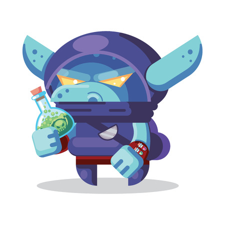 Fantasy RPG Game Character monsters and heros Icons Illustration. evil goblin rogue, ninja, thief with poison bottle