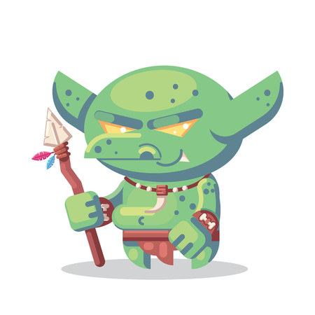 Fantasy RPG Game Character monsters and heros Icons Illustration. evil goblin barbarian, warrior npc with spear Illustration