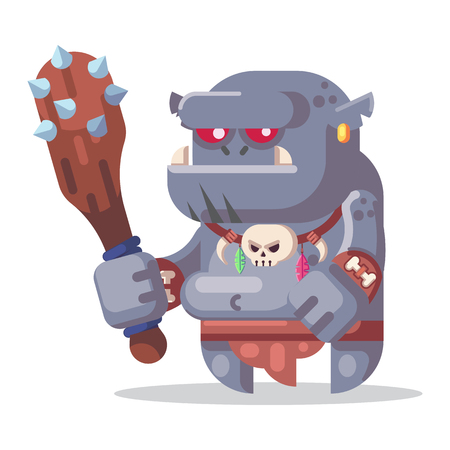 Fantasy RPG Game Character monsters and heros Icons Illustration. Big ogre with club Banco de Imagens - 123813636