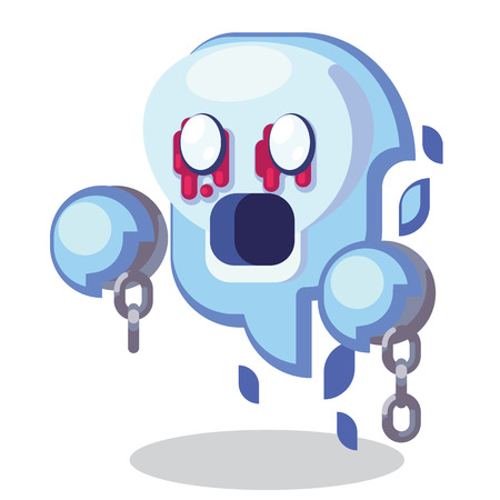 Fantasy RPG Game Character monsters and heros Icons Illustration. Enemy undead, banshee, ghost, spirit, wraith with shackles Ilustração