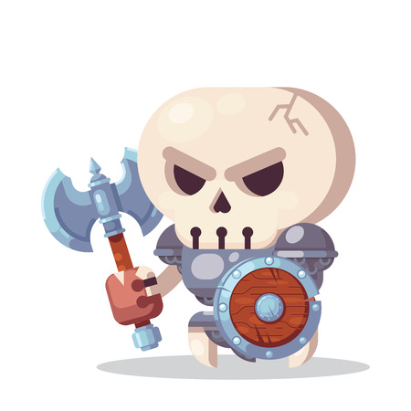 Fantasy RPG Game Character monsters and heros Icons Illustration. evil enemy warrior skeleton with axe and shield Banque d'images - 123813642