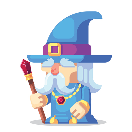 Fantasy RPG game Game Character monsters and heros Icons Illustration. Old wizard with staff and beard in pointed hat 免版税图像