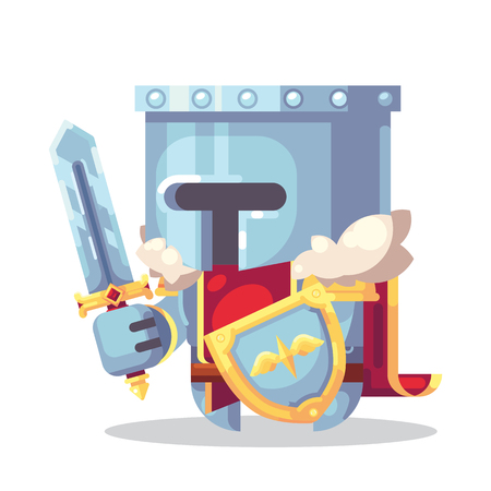 Fantasy RPG game Game Character monsters and heros Icons Illustration. Warrior, knight, paladin in armor with sword and shield