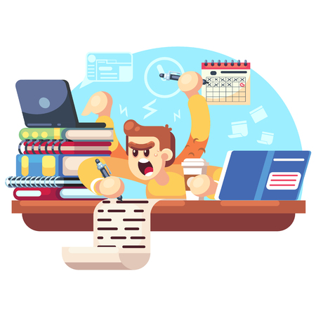 Worried, upset teen student on exam. Education and study concept Student experiences exam stress, excitement, worrying, fear. Vector flat cartoon character illustration. Banco de Imagens - 123813644