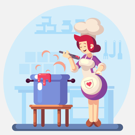 Woman Smiling and happy chef cook in the kitchen preparing soup, sauce. Colorful illustration in flat design 免版税图像