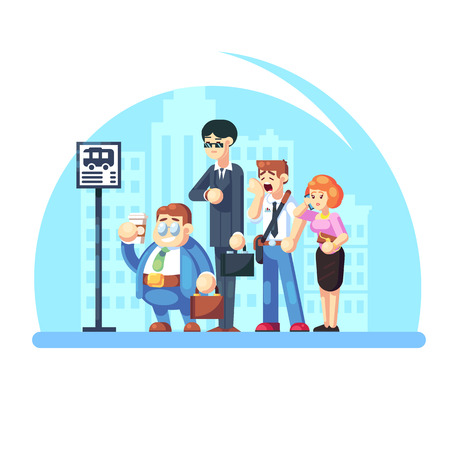Group of diverse people waiting for the bus while standing at the bus stop in the morning. Office workers on the street. Vector flat illustration Banco de Imagens