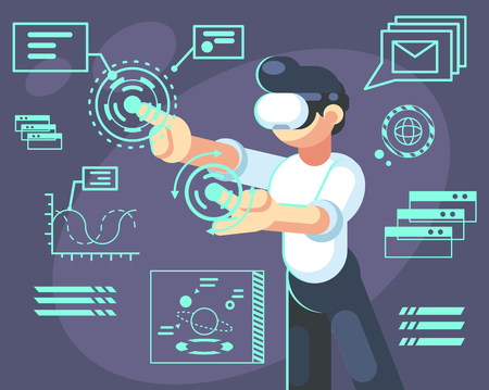 Man in helmet of virtual reality. Device new modern technology for work and science, vector flat illustration