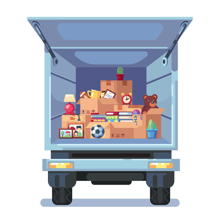 Vector cartoon style illustration of truck with open bodywork and home stuff inside. Cardboard boxes in van. Concept for home moving. Isolated on white background.