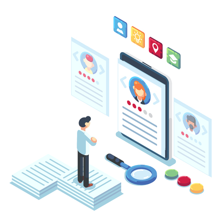 Social presentation for employment. Infographic for recruiting. Web recruit resources, choice, research or fill form for selection. Application for employee hiring. flat isometric vector illustration. Banco de Imagens