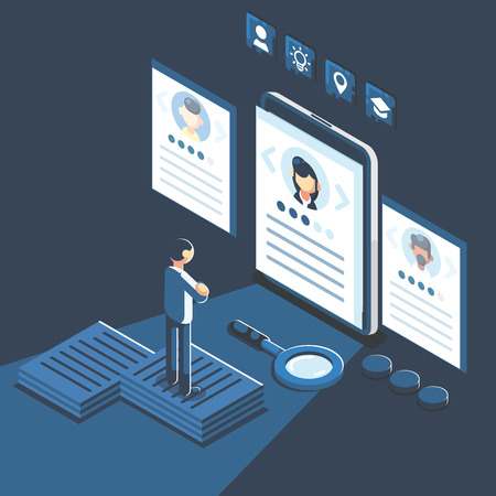 Social presentation for employment. Infographic for recruiting. Web recruit resources, choice, research or fill form for selection. Application for employee hiring. flat isometric vector illustration Banco de Imagens