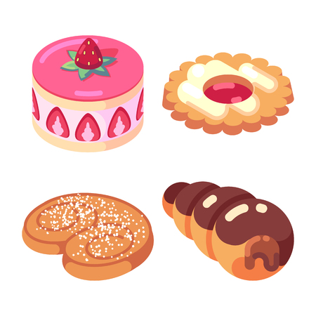 game icons set food for higher health level sweet delicious isometric vector icon set isolated on white background.