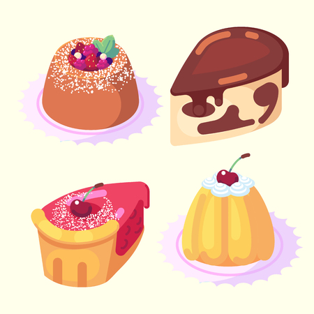 game icons set food for higher health level sweet delicious pastry desserts isometric vector icon set isolated on white background. Banco de Imagens - 127699928