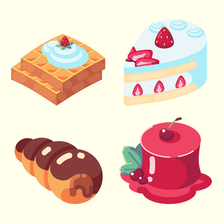 game icons set food for higher health level sweet delicious pastry desserts isometric vector icon set isolated on white background. Illustration