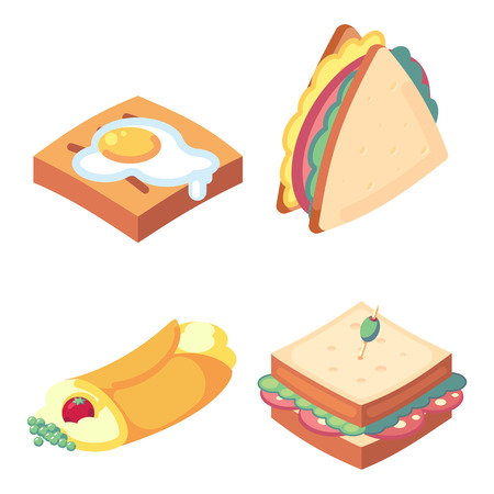 game icons set food for higher health level delicious snacks isometric toast, egg, sandwich tortilla vector icon set isolated on white background. Banco de Imagens - 127634109