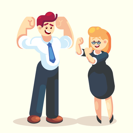 Strong happy businessman and businesswoman office worker team character vector flat design We can do it.