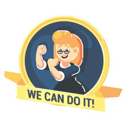 We Can Do It symbol of female power Strong happy businesswoman character vector flat design