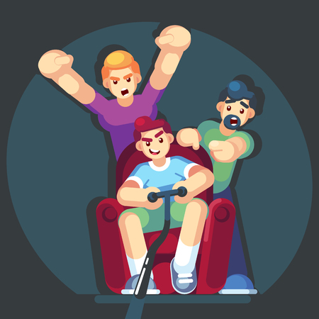 cartoon young people play video games sitting on the couch sofa. Gamepad in hands. Friends playing video games. Vector illustration. Flat design style