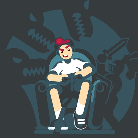 Happy gamer playing video game sitting on the couch sofa. Gamepad in hands. An excited young man playing video game rpg mmo pc console at home. Vector flat design illustration
