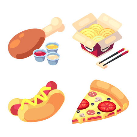 game icons set food for higher health level delicious snacks fast food, pizza, hot dog, noodles, chicken leg vector icon set isolated on white background.