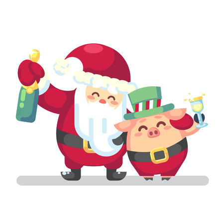 2019 New year Merry Christmas symbol. Santa Claus with champagne, glass, toast Christmas trees candy, sweets and symbols 2019 pig. isolated on white background Vector flat illustration Banco de Imagens