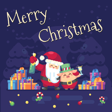 2019 New year Merry Christmas symbol. Santa Claus with champagne, glass, toast gifts, Christmas trees candy, sweets and symbols 2019 pig. Decoration of poster card holiday background. Vector flat illustration Banque d'images - 120199848