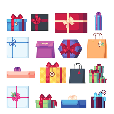 Collection of different cartoon present box isolated on white background. New Year s and Christmas bright decor in flat style. Colorful gift boxes with bows Banque d'images - 120199851