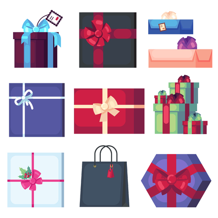 Collection of different cartoon present box isolated on white background. New Year and Christmas bright decor in flat style. Colorful gift boxes with bows. Banque d'images - 120311667