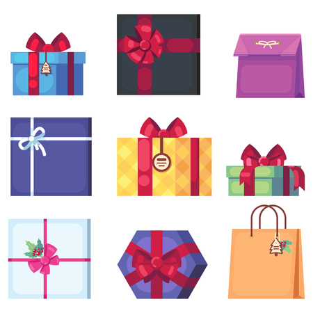 Collection of different cartoon present box isolated on white background. New Year s and Christmas bright decor in flat style. Colorful gift boxes with bows Banque d'images - 120311669